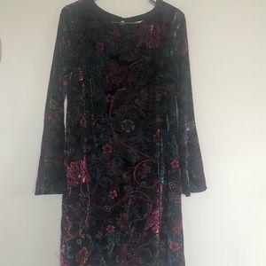 A Velvet, Black Based Floral Print Dress